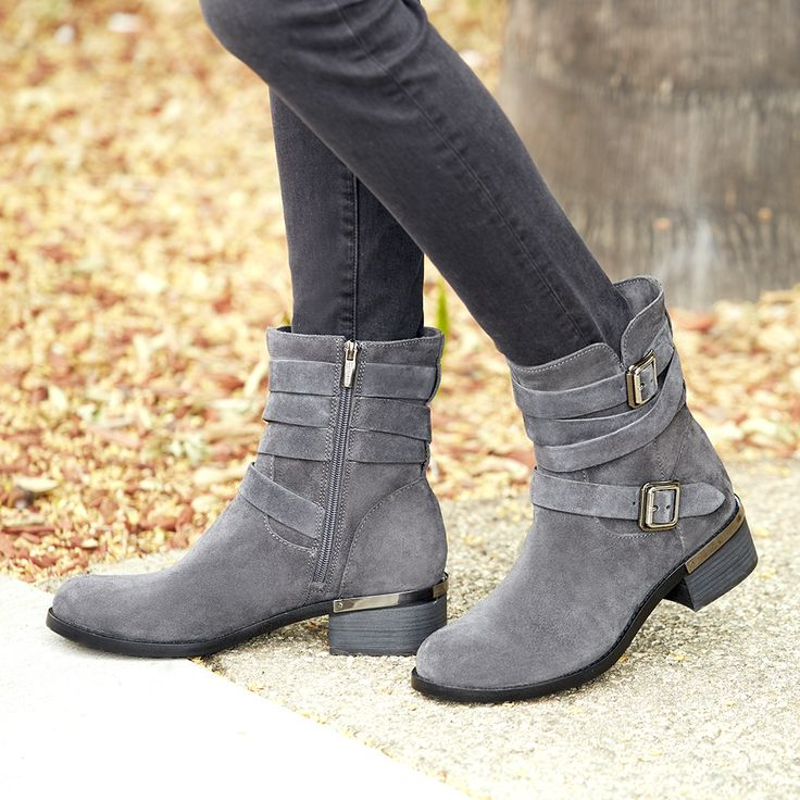 Tendance Chaussures 2017 Grey Suede Moto Boot With