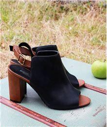 tendance chaussures 2017 tendance chaussures chaussures femme boots ouvertes bicolore noir. Black Bedroom Furniture Sets. Home Design Ideas