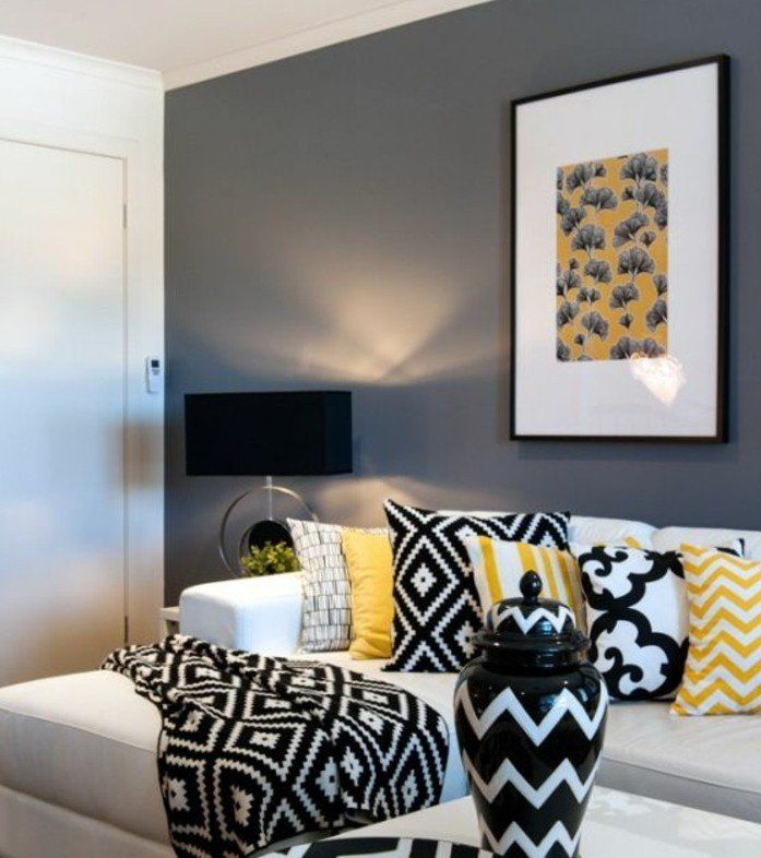 d co salon formidable deco salon gris peinture grise sur les murs canap blanc l men. Black Bedroom Furniture Sets. Home Design Ideas