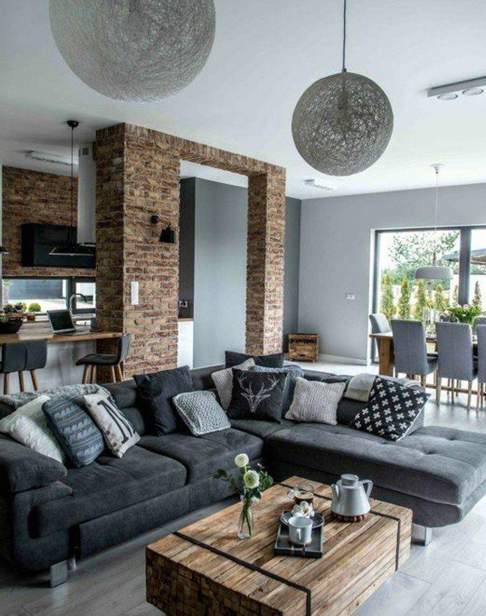 D co salon formidable studio avec un salon gris et blanc - Idee deco salon industriel ...