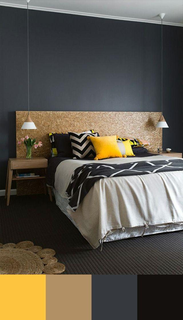 d co salon gris anthracite jaune et beige des teintes modernes leading. Black Bedroom Furniture Sets. Home Design Ideas