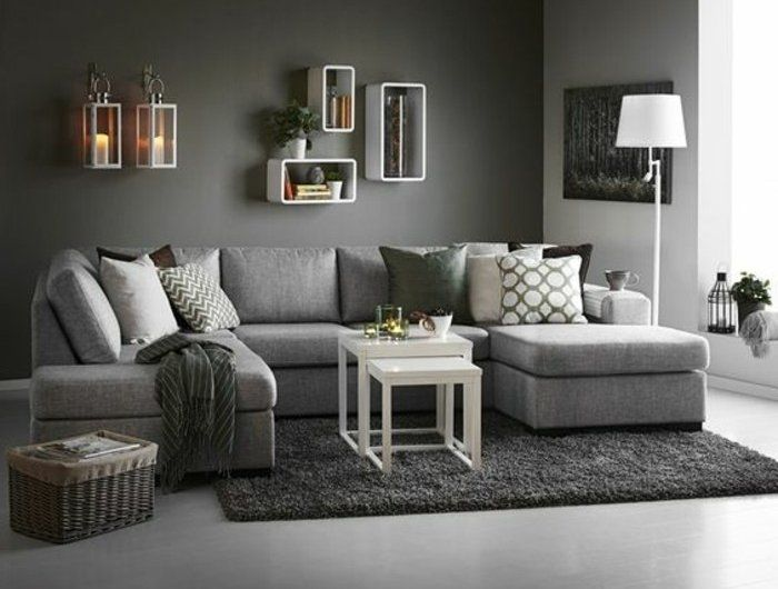 d co salon un salon en gris et blanc c 39 est chic voil. Black Bedroom Furniture Sets. Home Design Ideas