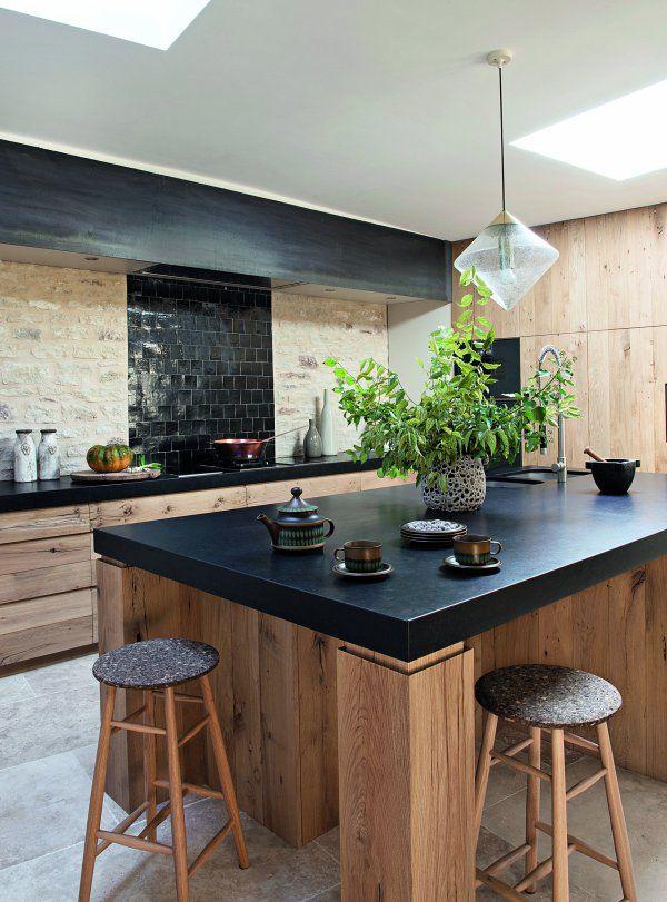 D co salon une cuisine en bois et pierres leading inspiration culture - Cuisine bois et pierre ...