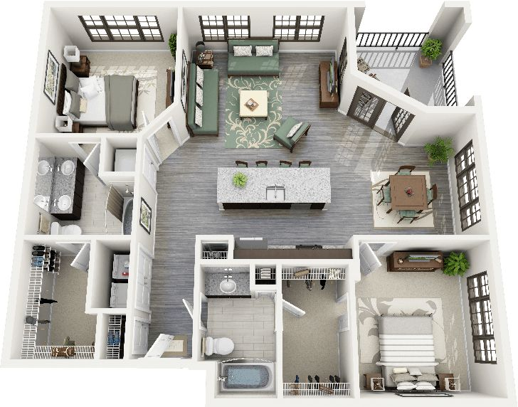 Id e d coration salle de bain 3d floor plan apartment for Appartement design sims 3