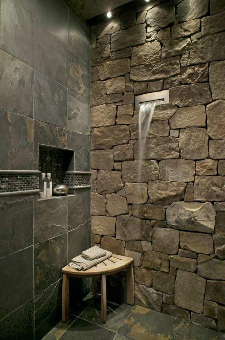 Idée décoration Salle de bain - carrelage ardoise pour salle de ...