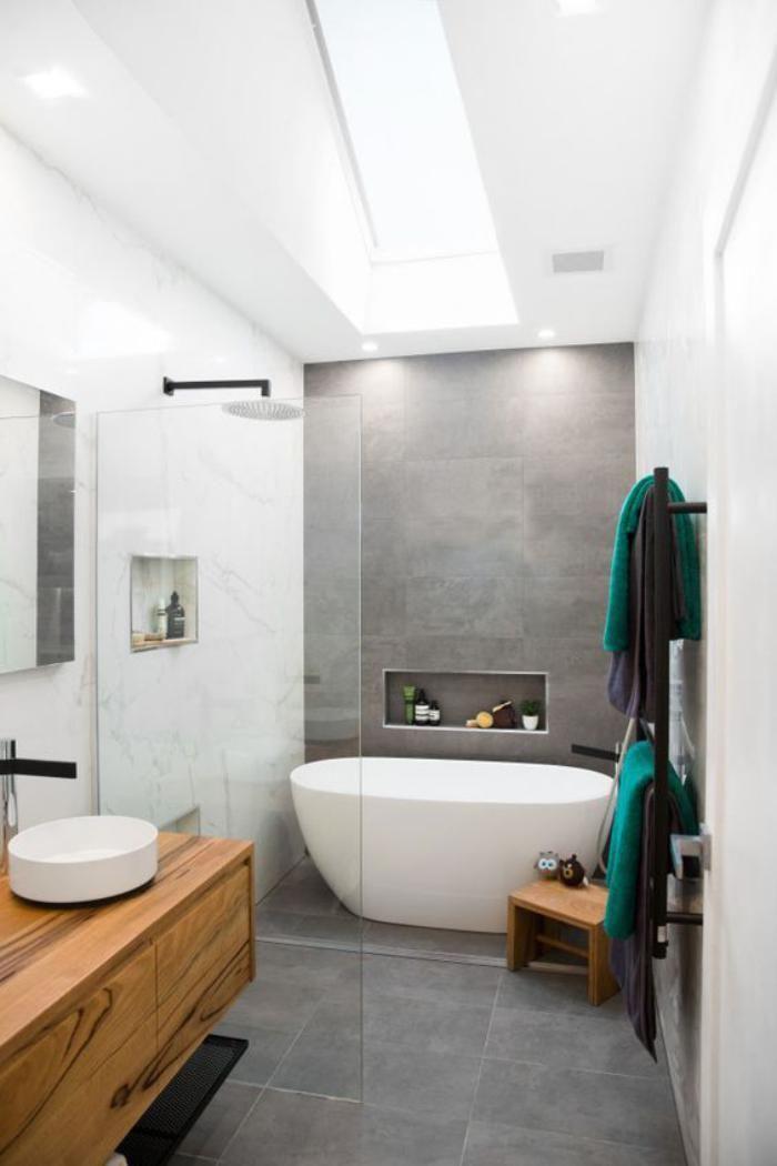 Id e d coration salle de bain carrelage gris salle de - Idee meuble salle de bain ...