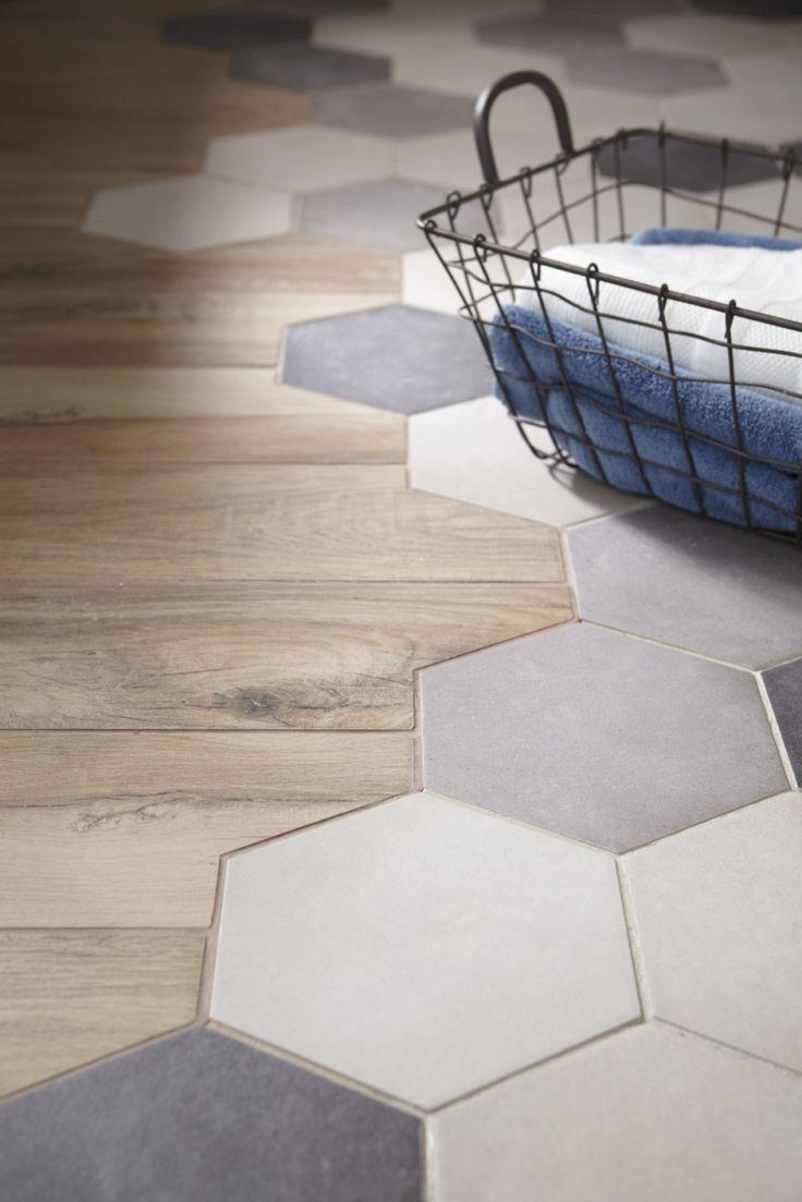Idée Décoration Salle De Bain Carrelage Hexagonal Intégré Au - Carrelage a la mode