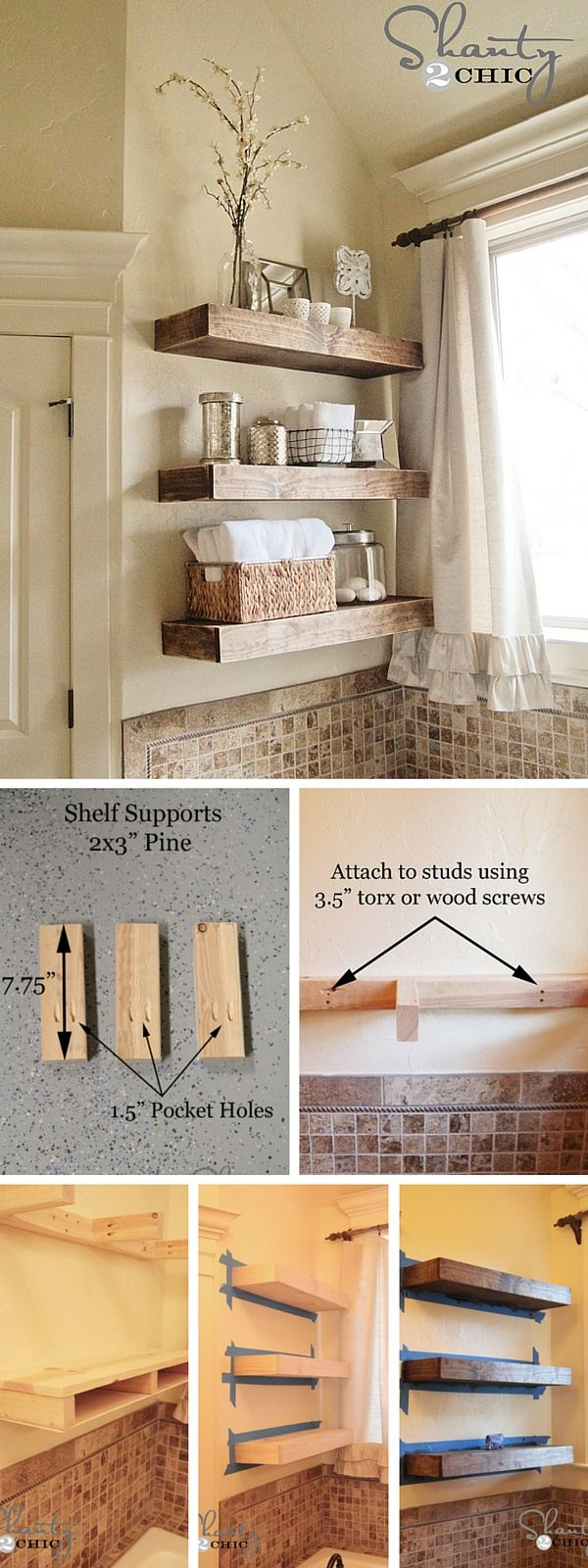 id e d coration salle de bain check out the tutorial diy rustic bathroom shelves listspirit. Black Bedroom Furniture Sets. Home Design Ideas