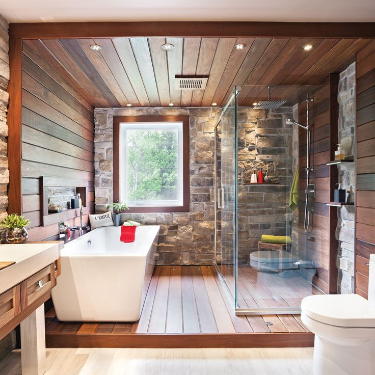 Idée décoration Salle de bain - déco salle de bain bois et pierre ...