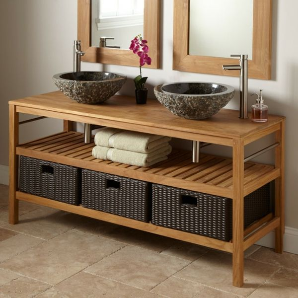 id e d coration salle de bain meuble de salle de bains en teck et vasques en pierre www m. Black Bedroom Furniture Sets. Home Design Ideas