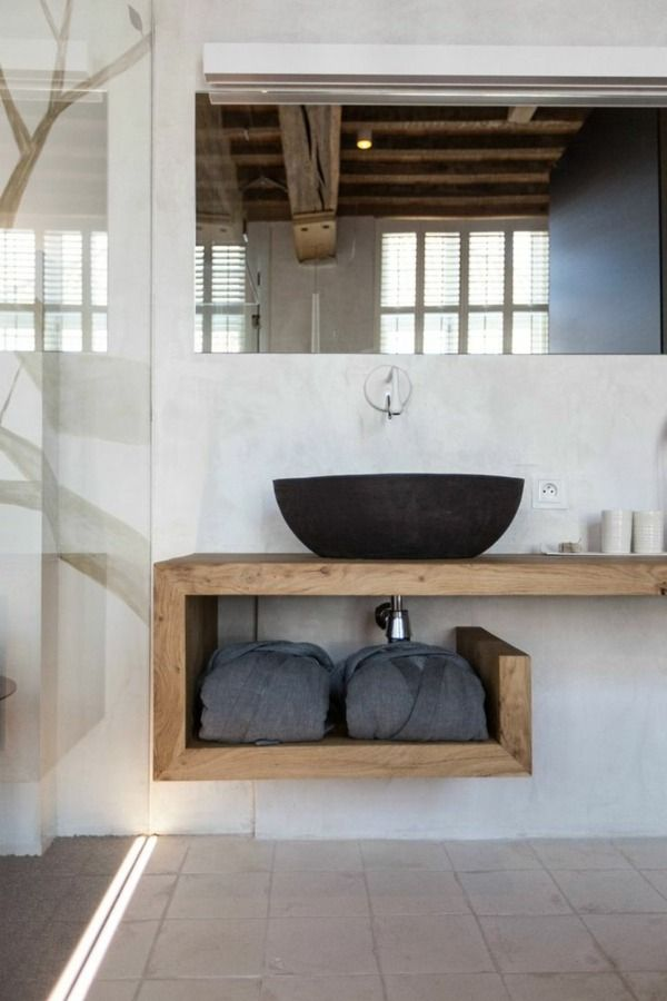 Idée décoration Salle de bain - meuble-design-bois-vasque-ardoise ...