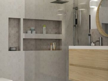 id e d coration salle de bain plan vasque faire soi m me en b ton bois carrelage. Black Bedroom Furniture Sets. Home Design Ideas
