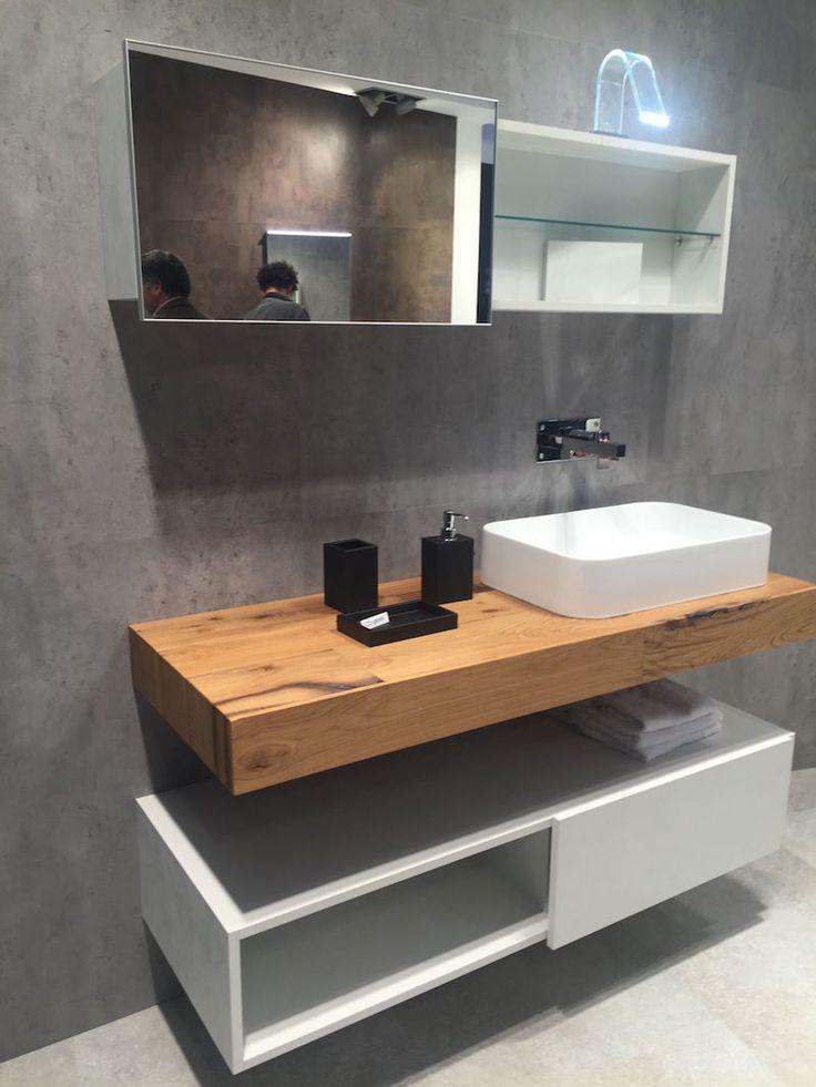 id e d coration salle de bain plan de travail de salle de bain en bois et meuble blanc avec. Black Bedroom Furniture Sets. Home Design Ideas