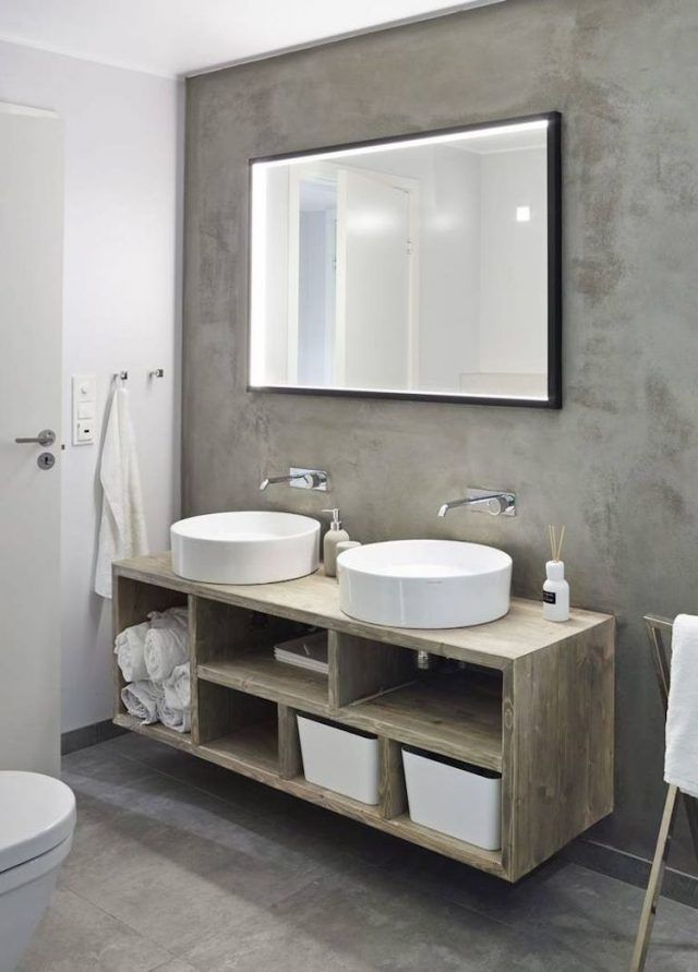 id e d coration salle de bain salle de bain beton cire meuble vasque bois massif listspirit. Black Bedroom Furniture Sets. Home Design Ideas