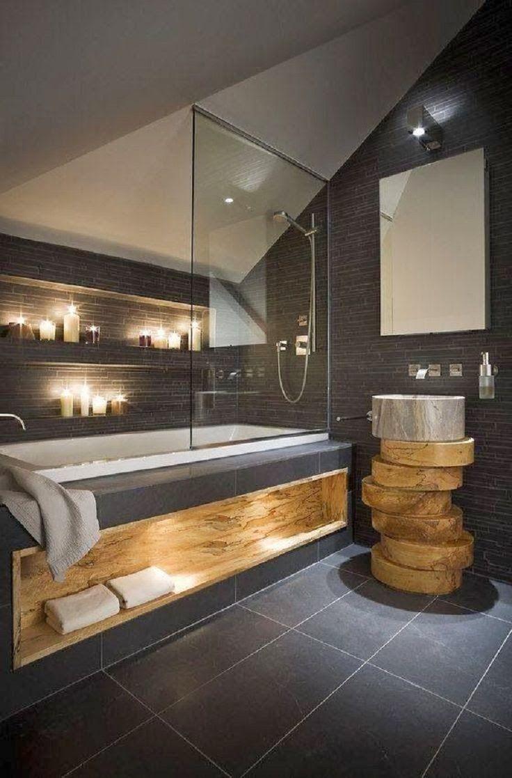 description salle de bain sobre moderne et design avec bois - Salle De Bain Moderne Bois