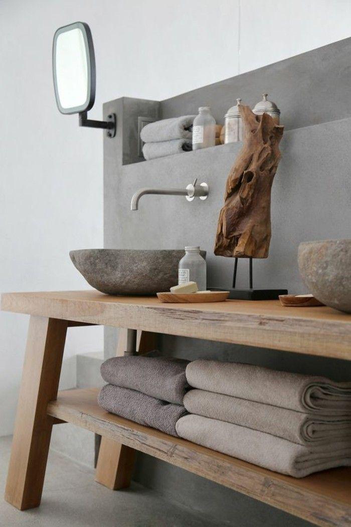 id e d coration salle de bain vasque salle de bain avec rayons en bois. Black Bedroom Furniture Sets. Home Design Ideas