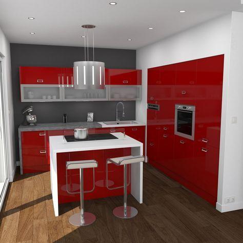Id e relooking cuisine cuisine rouge brillante ouverte implantation en l avec ilot central - Cuisine rouge ilot central ...