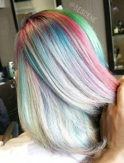 Couleur arc en ciel cheveux court