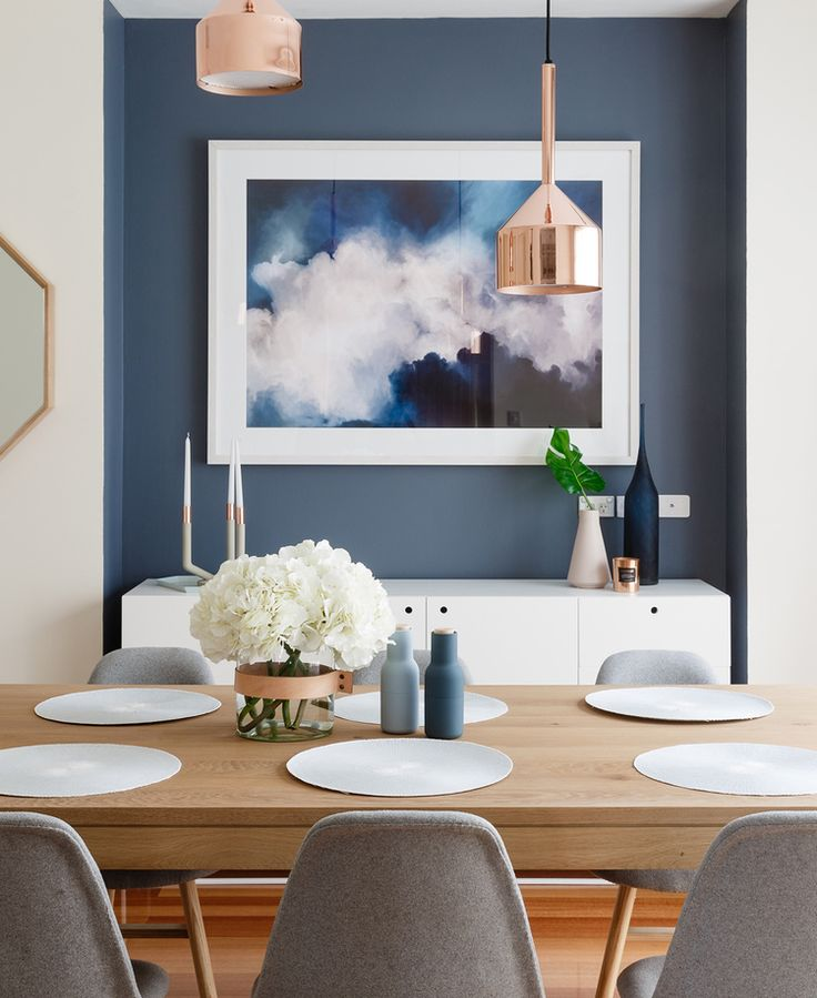 Description Modern Scandinavian Style Dining Room With Feature Blue Wall