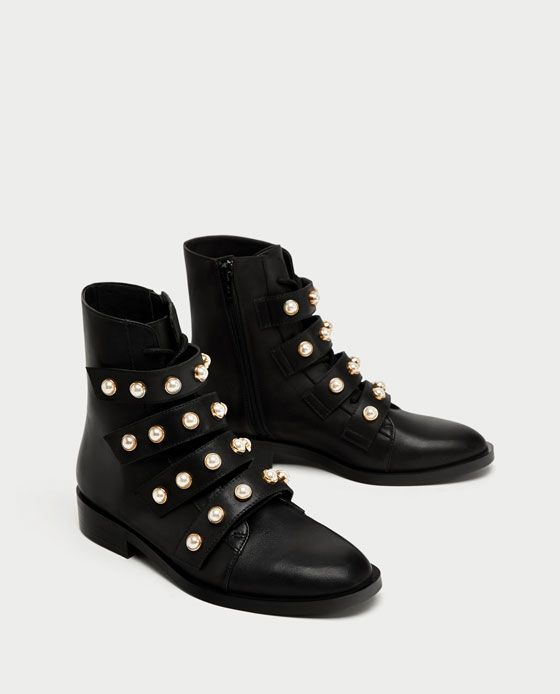 tendance chaussures 2017 zara femme bottines en cuir avec d tail de perles listspirit. Black Bedroom Furniture Sets. Home Design Ideas