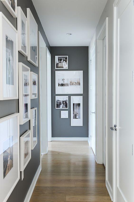 Déco Salon - Décoration couloir gris et blanc avec des photos www ...