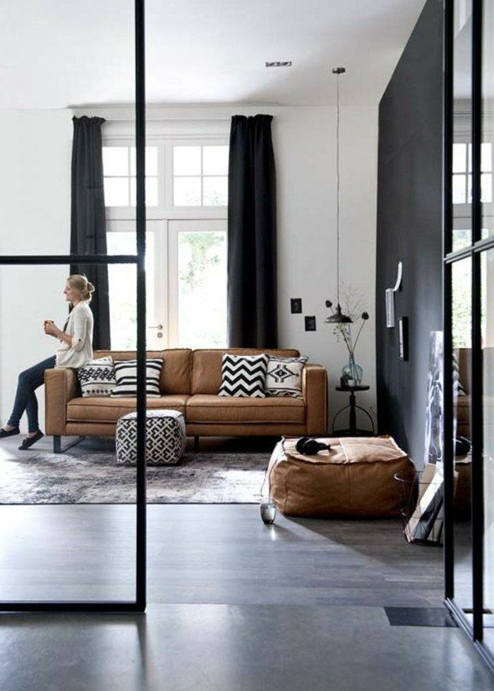 awesome salon marron et gris contemporary amazing house design. Black Bedroom Furniture Sets. Home Design Ideas