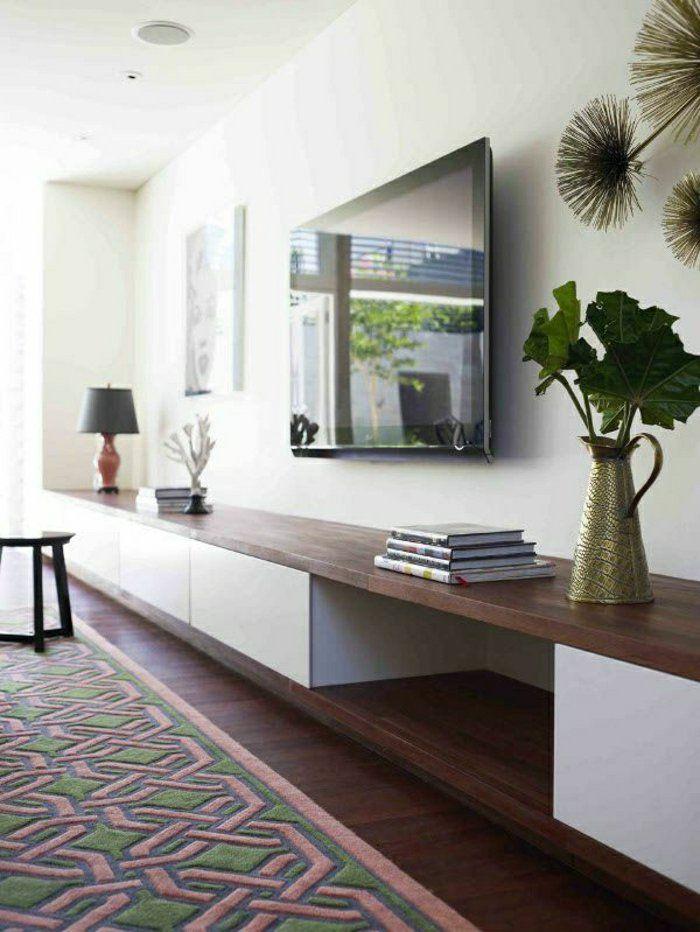 Dco Salon  Sol En Parquet Marron Tv Console Noir Mur Blanc