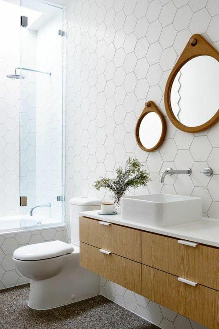 Id e d coration salle de bain carrelage design hexagonal deux miroirs ronds - Carrelage miroir salle de bain ...