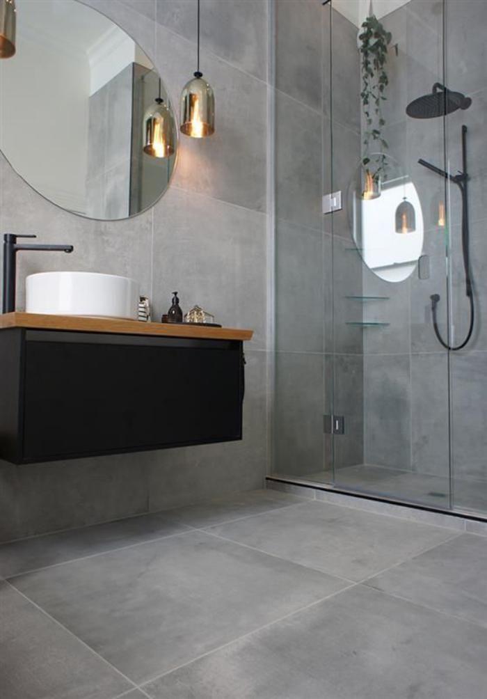Idée décoration Salle de bain - carrelage gris aspect béton dans la ...