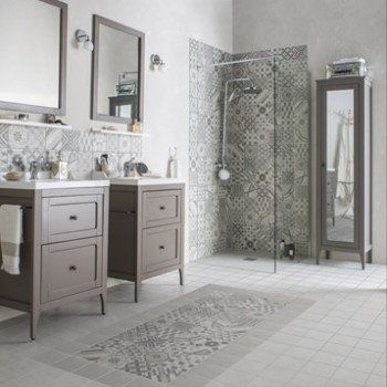Idée décoration Salle de bain - Carrelage sol et mur gris, décor ...