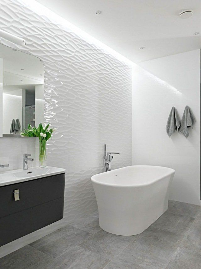 id e d coration salle de bain design salle de bains moderne blanche avec mur en relief 3d. Black Bedroom Furniture Sets. Home Design Ideas
