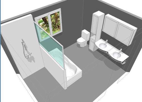 Id e d coration salle de bain douche italienne - Plan salle de bain douche et baignoire ...
