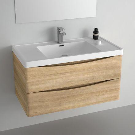 id e d coration salle de bain meuble pour salle de bains en ch ne clair livr avec vasque en. Black Bedroom Furniture Sets. Home Design Ideas