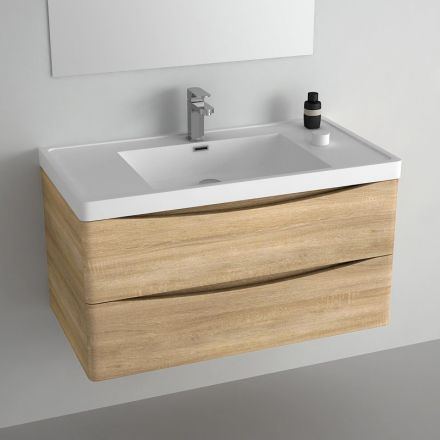 meuble salle de bain bois chene clair