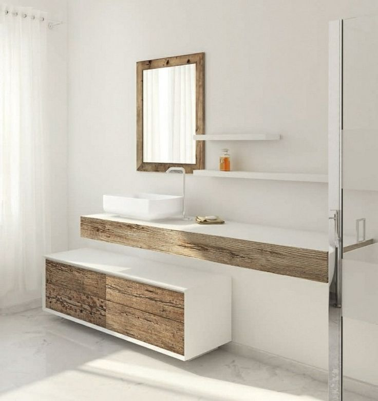 id e d coration salle de bain meuble vasque salle bain bois brut blanc mat design italien. Black Bedroom Furniture Sets. Home Design Ideas