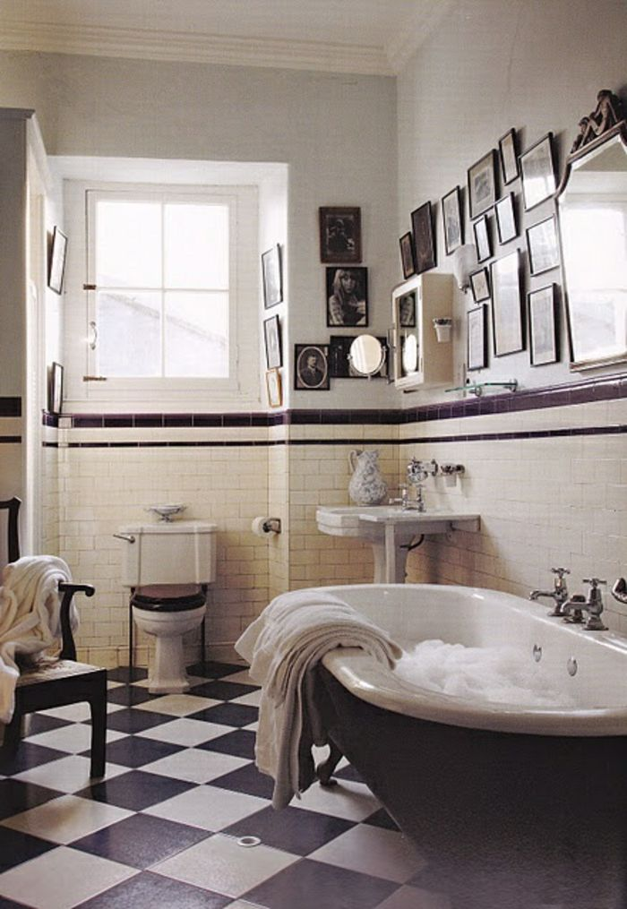 Awesome salle de bain vintage pinterest images amazing for Carrelage salle de bain