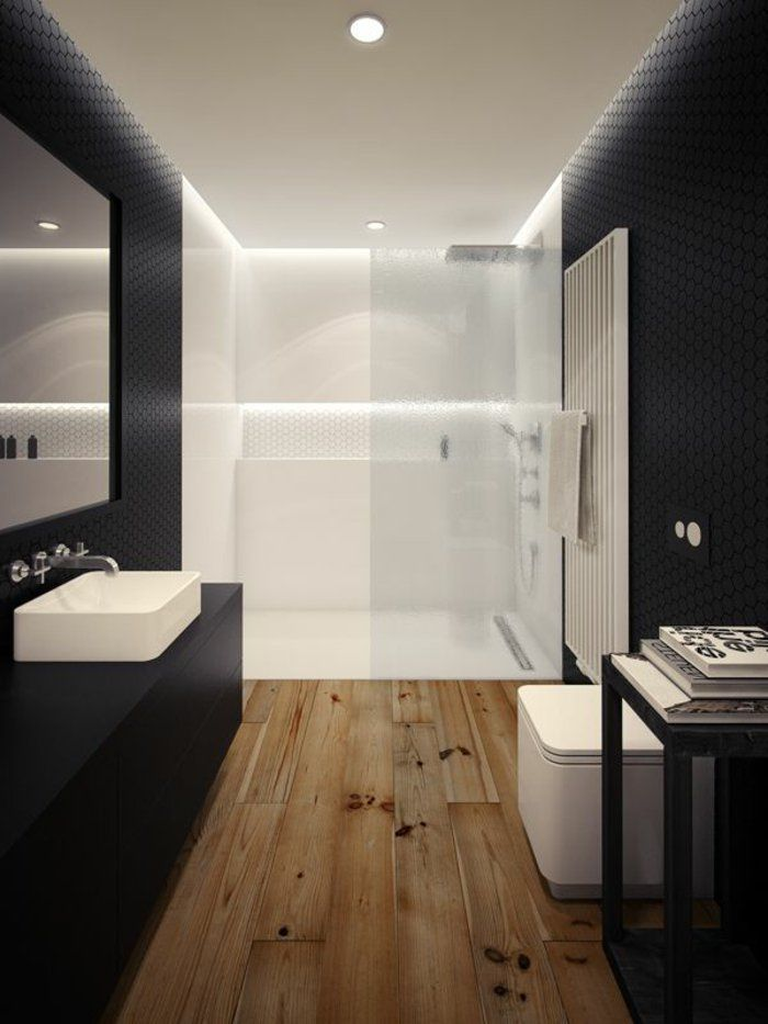 id e d coration salle de bain salle de bain avec comiche eclairage indirect sol en parquet. Black Bedroom Furniture Sets. Home Design Ideas
