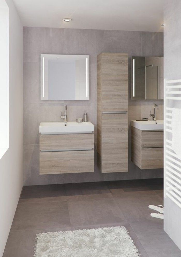 Idée décoration Salle de bain - salle de bain beige avec meubles en ...