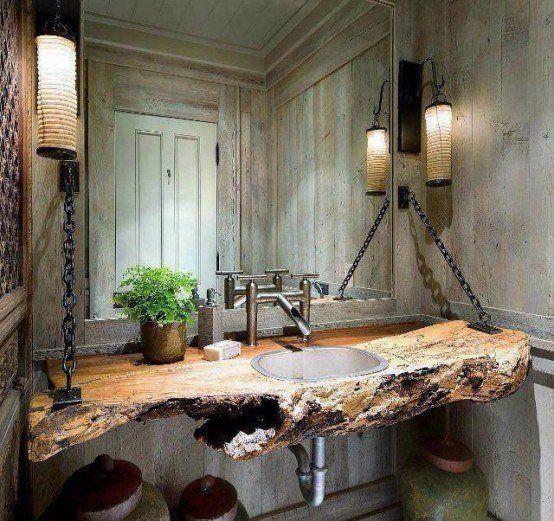 Idée décoration Salle de bain - Salle de bain rustique aux ...