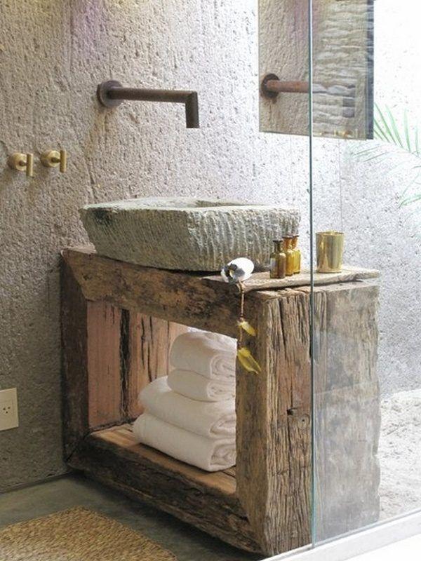 Idée décoration Salle de bain - Salle de bain rustique en bois ...