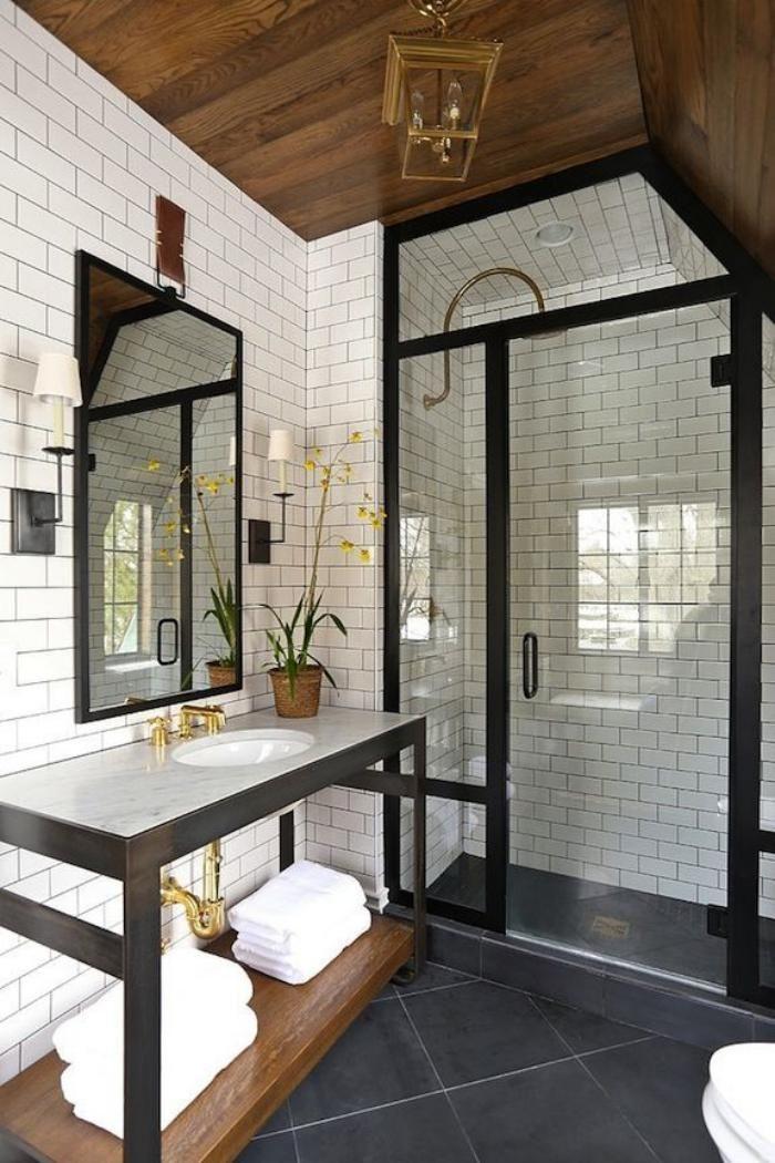 Idée décoration Salle de bain - salle de bain scandinave, carrelage ...