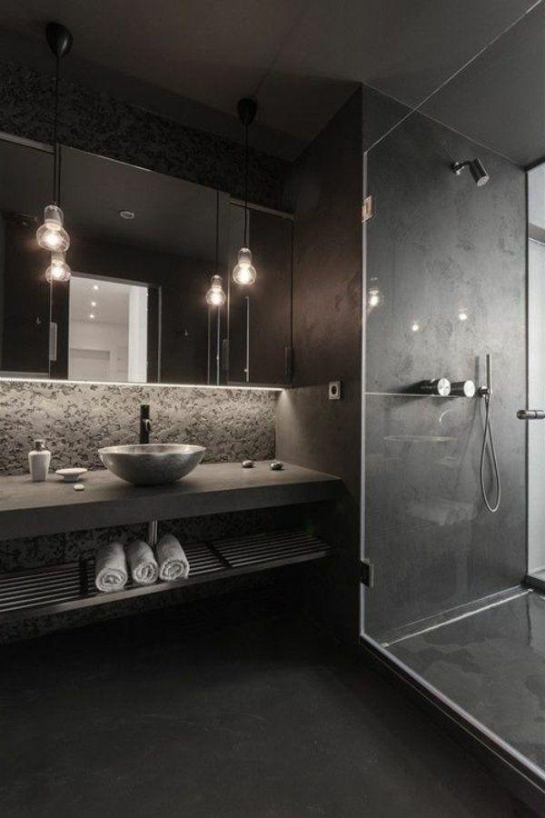 id e d coration salle de bain salle de bains grise petite vasque ovale et ampoules. Black Bedroom Furniture Sets. Home Design Ideas