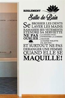 Idée décoration Salle de bain - Sticker Les règles de la salle de ...