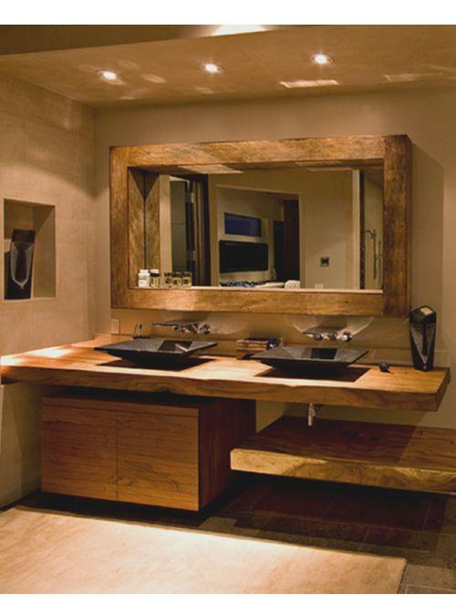 Id e d coration salle de bain top lux elegance il doppio piano lavabo in legno massello di - Mobili bagno in legno grezzo ...