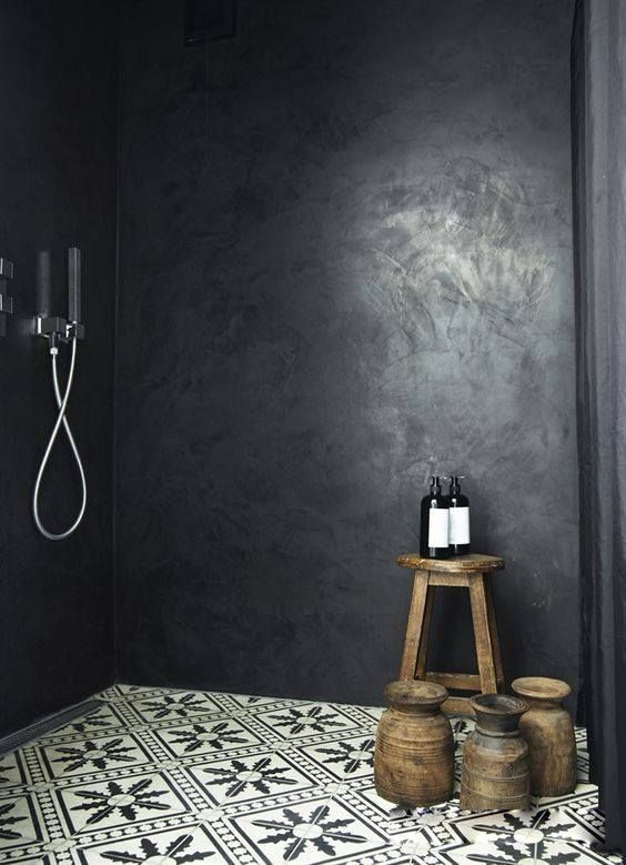 id e d coration salle de bain une belle douche l 39 italienne en b ton cir noir et un sol en. Black Bedroom Furniture Sets. Home Design Ideas