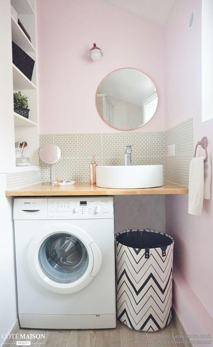 Id e d coration salle de bain une salle d 39 eau rose et - Idee salle de bain grise ...