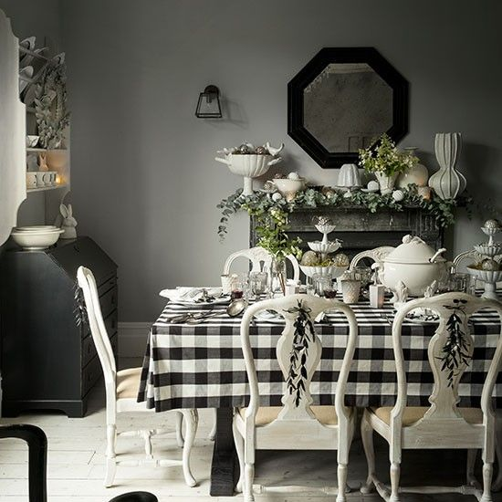 Dining Room Black And White: Black And White Christmas Dining Room