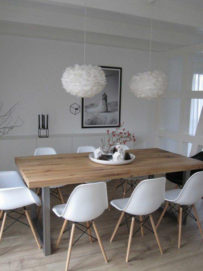 Salle manger chaises en plastique blanc table en bois for Salle a manger en bois blanc