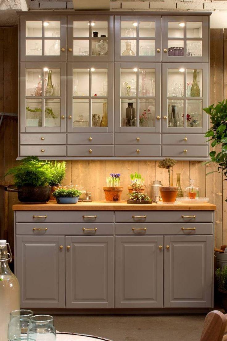 Salle Manger Meubles Cuisine Ikea Vaisselier En Bois Gris  # Meuble De Salon Interiors Vaissellier
