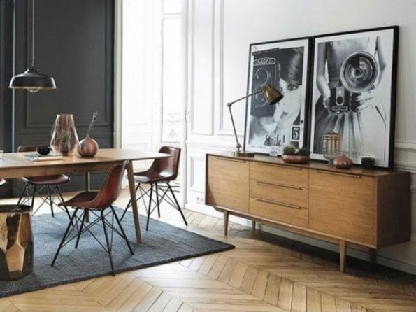 salle manger mid century console black and white oversized photography herringbone floor. Black Bedroom Furniture Sets. Home Design Ideas
